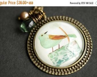 VALENTINE SALE Sage Green Bird Necklace. Bird Pendant with Pale Green Teardrop and Fresh Water Pearl Charm. Green Necklace. Bronze Necklace.