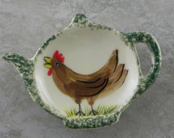 Tea bag Holders /Set Of Four/shower gift/ceramic/handmade/handpainted/ring holder/spoonrest/brillo holder/