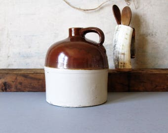 Stoneware jug, primitive farmhouse kitchen decor, vintage rustic stoneware jug, crock,  farmhouse jug, crock jug, country kitchen decor