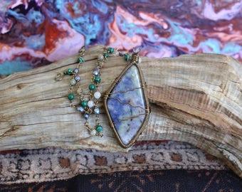 Prairie Tanzanite Necklace with Purple Moss Agate, Malachite & Czech Fire Polished Beads
