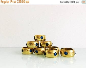"ON SALE Vintage Brass and ""Gem"" Napkin Ring Set"