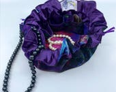 Drawstring Travel Jewelry Pouch / Satchel - Medium - Purple Watercolor with Purple Satin Lining