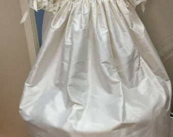 Smocked silk Christening gown