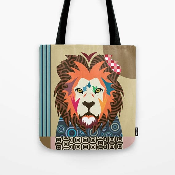 Lion Tote Bag, Lion Lovers Gift, Lion Print, Wild Animal Art, Animal Portrait, Wild Animal Gift, Wild Animal Gift Bag, Animal Pop Art