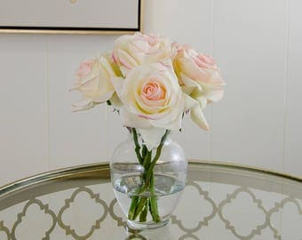 Real Touch Ivory Roses Pink Tipped Arrangement using Artificial Faux Silk Flowers Round Glass Vase for Home Decor