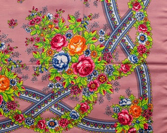 Russian shawl Different colors. Floral pink chale russe, Chic scarf, Mantón hustka. Babushka head scarf Fringed Shawls Platok