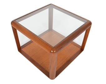 English Modern Mid Century G Plan Coffee Table in Teak + Glass