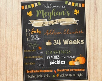 Fall Baby Shower Chalkboard Sign. Autumn Baby Shower Decorations. PRINTABLE. fall baby shower welcome sign. autumn leaves. pumpkin poster