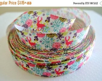 "50% OFF 7/8"" Fall Ribbon by the Yard-Animal ribbon Deer flowers colorful grosgrain by Ribbon Lane Supplies on Etsy"