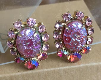 Pink AB Floral Rhinestone Clip On Earrings.