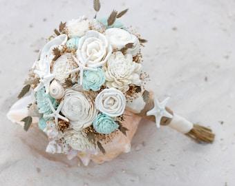 Beach Bouquet,Mint Bouquet,sola flowers,mint bridal bouquet,beach bouquet,beach wedding,coastal wedding, starfish,shells