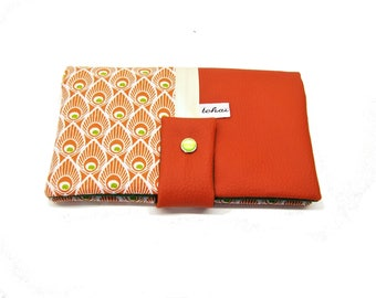 women's wallet pumpkin leaves , all in one case in faux leather and graphic fabric , coin case , check book case , card case