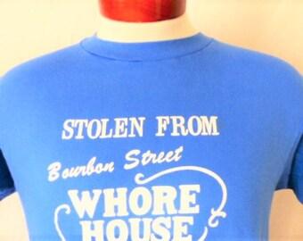 vintage 80s Bourbon Street Whore House New Orleans Louisiana blue graphic tshirt white logo tourist travel souvenir hanes made in usa medium