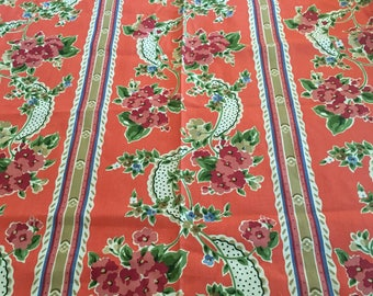 Vintage Waverly upholstery fabric Cottage Walk medium weight coral