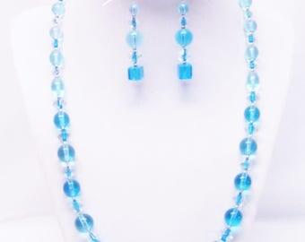 Multiple Shapes & Sizes Aqua Blue Transparent Glass Bead Necklace/Bracelet/Earrings Set