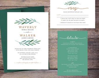 Greenery Wedding Invitation, Printable Wedding Invite, Green Foliage, Garden Wedding, botanical, DiY Digital File, Print at Home - Waverly