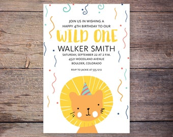 Wild One birthday invitation, lion invitation, lion birthday, circus birthday invite, party birthday invitation