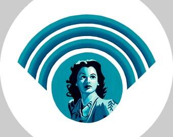 Hedy Lamarr Button - Women's History - Computer Science - STEM - Wi-fi