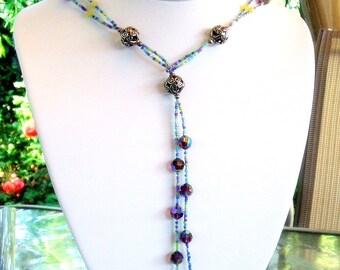 Olive jade and amethyst crystal aurora borealis lariat necklace