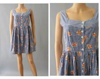 1990s strap  cotton dress front buttoned /90s floral gingham strap dress/ 90s short cotton summer dress
