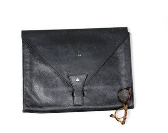 80s large  black leather letter  clutch Initials JB xl