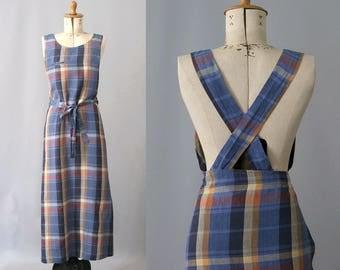 1990s linen check wrap Dress crossed straps back