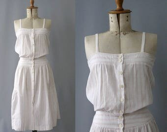 1970s Cacharel cotton gauze straps dress small /70s french gauze stripes summer dress front buttoned
