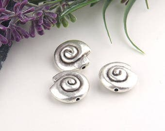 Silver, Metal Spiral Sea Shell Beads, Twist Sea Shell Beads, 3 pieces // SB-111