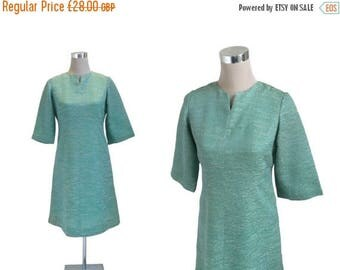 On Sale 60's Day Dress - 1960's Vintage Dress - Sea Green Dress - Bell Sleeves - Metal Zipper Dress - Mother Of The Bride Dress