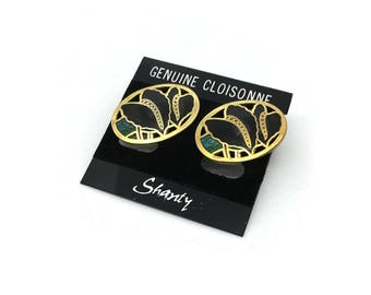 Large Enamel Vintage Earrings | NOS Earrings | Cloisonné Earrings | Black Gold Green | New Old Stock Earrings | 1980's Earrings