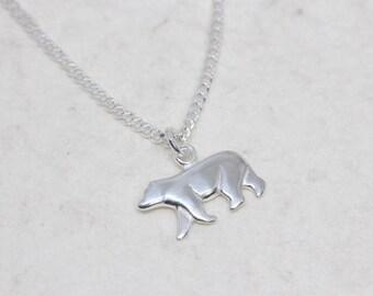 Sterling silver polar bear necklace. silver bear charm necklace. sterling silver polar bear pendant necklace, silver bear pendant necklace