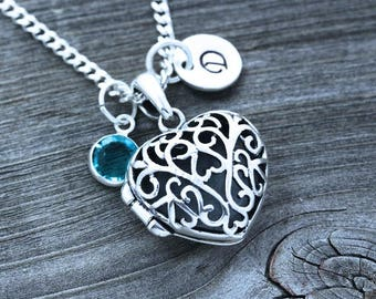 Heart lockets, solid sterling silver locket necklace, Silver locket necklace, locket personalized, custom charm.  R-38