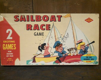 Sailboat Race game.  A built-rite toy from the 1960s with wooden pieces