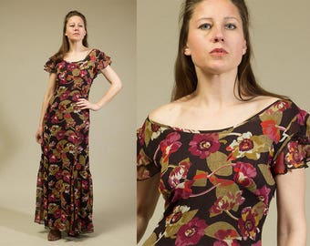 Floral Sheer Overlay Maxi Dress /  Floor length maxi dress 90s vintage  / Flowing dress / Boat neck dress / size small to medium