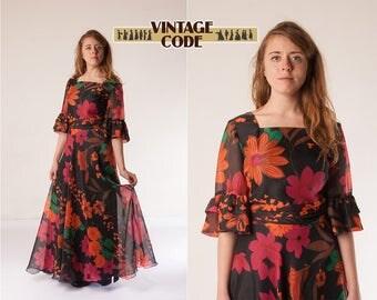 Black floral 70s vintage Chiffon maxi dress / Bold floral print  chiffon overlay dress Hostess gown by Helmut Etges / size medium