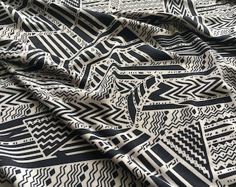 """Geometric Print Jersey Fabric Taupe Black Color - Listing for 1 yard & 57"""" Wide"""