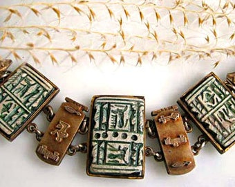 Egyptian Hieroglyphs Bracelet Story Panels, Green Faience Stones Brass Raised Links, Tomb Figurals, High Relief Images, Hallmarked