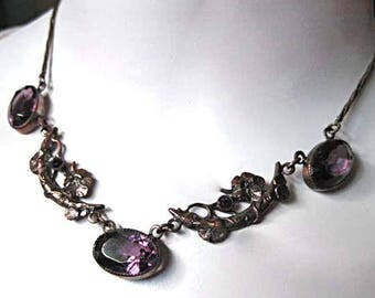Purple Glass Flowers Choker, Brass Florals Vines Branches, Art Nouveau Era, Oval Faceted Stones, Petite Vintage Renaissance Choker Necklace