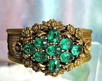 Brass Marcasites Bracelet, Vintage Coro Cuff, Green Glass Stones, Victorian Revival Flowers Wide Hinged Cuff, Floral Bouquet Woven Mesh Band
