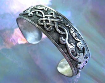 Chinese Love Knot Silver Bracelet, Oriental Cuff Flower leaf Vines, Oxidized Silver Raised High Relief Design, Signed