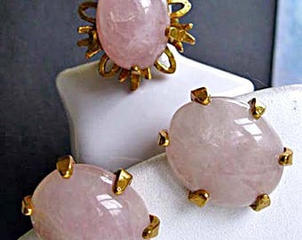 Pink Rose Quartz Vintage Earrings and Cocktail Ring, Signed Castlecliff, Domed Oval Cabstones Golden Brass Settings, Adjustable Ring Shank