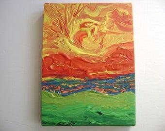 Aztek - Original Acrylic Painting Canvas - 6 x 8