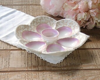 T V Limoges Oyster Plate, Tressemann and Vogt Pink Gold and White 6 Slot Oyster Plate for Weddings, Home and Living