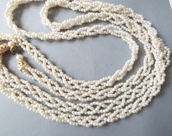 """54"""" pearl braided rope necklace flapper wedding bridal necklace"""