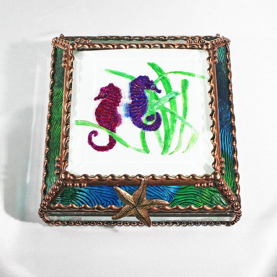 Etched, Hand Painted, Seahorse,Ocean,Marine Life,Sea,Stained Glass, Keepsake Box,Jewelry Box