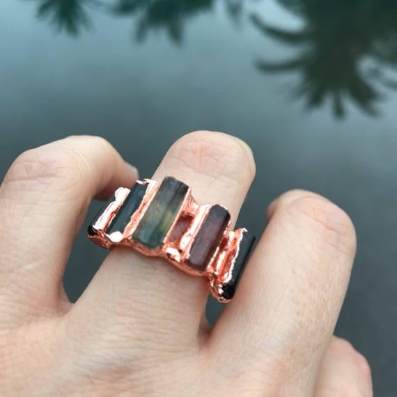 Tourmaline Ring, raw stone Tourmaline copper ring, boho jewelry
