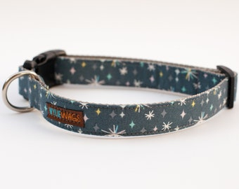 Handmade Retro Stars Dog Collar, dog collar for girls, dog collar for boys, dog collar, Stars, Retro