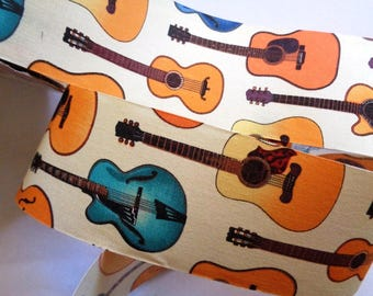"Guitars Cotton Ribbon Trim, Multi Color, 2 1/2"" inch wide, 1 yard, For Mixed Media, Scrapbook, Altered Art, Home Decor, Accessories"