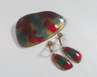 A Gagnon Enamel Brooch / Pendant and Earrings - Vintage 1980s  Oversized Runway Jewellery Pin Quebec