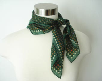 Vintage Green Polka Dot Square Scarf  - Silk Light weight Scarves - Womens Echo Accessories